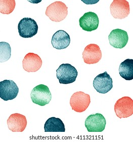 Hand painted polka dot pattern. Abstract watercolor texture shapes colorful. Design illustration image trendy.