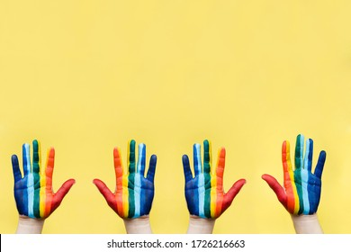 Hand painted as a rainbow flag. LGBTQ concept. Hand LGBT close up