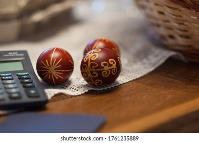 Hand painted traditonal easter eggs, business concept