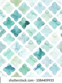 Hand painted turquoise watercolor flower like geometrical allover seamless pattern in repeat