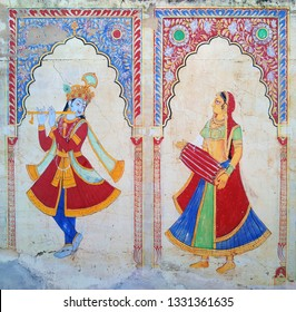 hand painted wall art indian miniature painting on wall with natural color