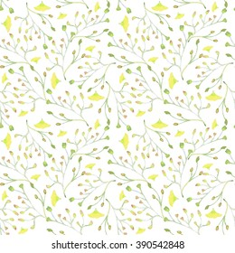 Hand painted water color plants. Isolated floral design elements, botanical style art work.  seamless pattern on a white background