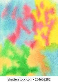 Hand painted watercolor abstract texture in light tones of blue, red, yellow, orange and green.