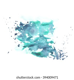 Hand painted watercolor background. Watercolor wash.blue, turquoise, sky, mint