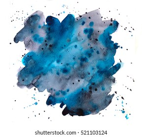 hand painted watercolor blot, abstract background; isolated on white