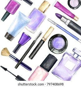 Hand painted watercolor cosmetics pattern with make up artist objects: lipsticks, nail polish, perfumes, eyeshadows, brushes, mascara on white background.