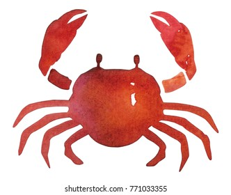 hand painted watercolor crab silhouette style isolated on white background