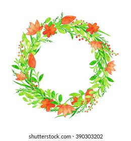 Hand painted watercolor flowers. Watercolor wreath.
