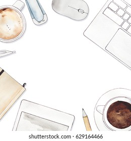 hand painted watercolor illustration. top view . notebook, coffee, laptop and office supplies