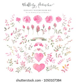 Hand painted watercolor rose flowers, rosebuds, leaves, hearts and ribbons. Elegant romantic clipart of pink roses for wedding greeting cards, Birthday, woman's day, valentine's