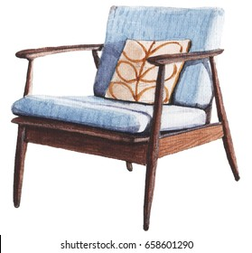 Hand Painted Watercolor Sketch Of Mid Century Blue Armchair.