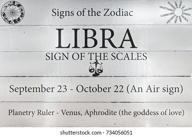Hand Painted Wood Panel Zodiac Sign Libra