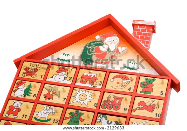 Hand painted wooden advent calendar isolated on a white background