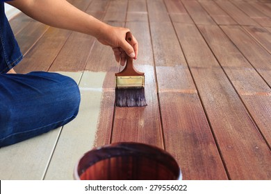 hand painting oil color on wood floor use for home decorated ,house renovation and housing construction theme