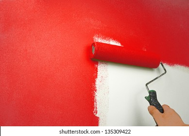 hand painting wall in red