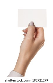 hand with paper, isolated white background