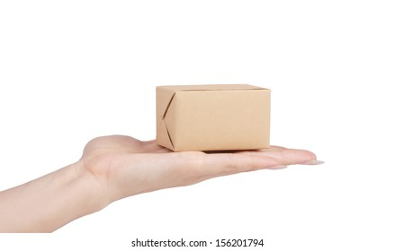 hand  with a parcel isolated on white background