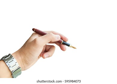 The Hand with parker pen on the white background. isolated Hand with pen