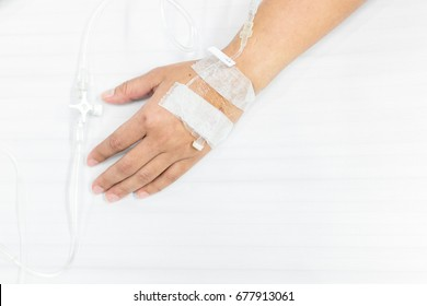 Hand of a patient in hospital