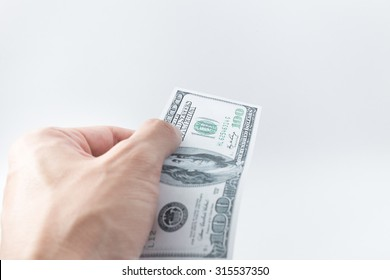Hand pay money bank note, United States dollar (USD)