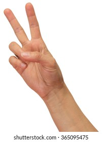 Hand with peace sign.