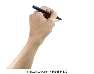 hand with pen isolated on white background