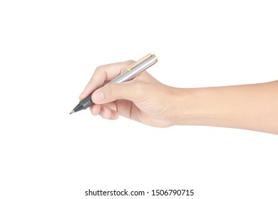 Hand with pen on a white background