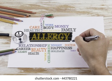 Hand with pen writing: Allergy