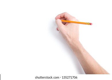 Hand with pencil on white background with shadows