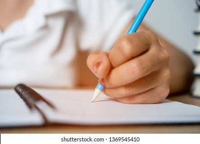 Hand and pencil pictures of students writing Education concept With copy space