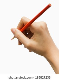 hand with pencil writing to a blank notebook isolated on white background