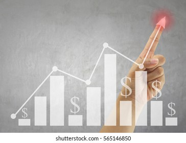 Hand of people point to highest bar graph for Presentation and publicity to promote your business.