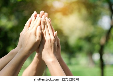 hand up of people working assemble corporate meeting show symbol Join forces teamwork quality and effective personnel Concept organizational development in teamwork and business