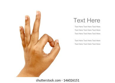 hand perfect gesture isolated with text on white background