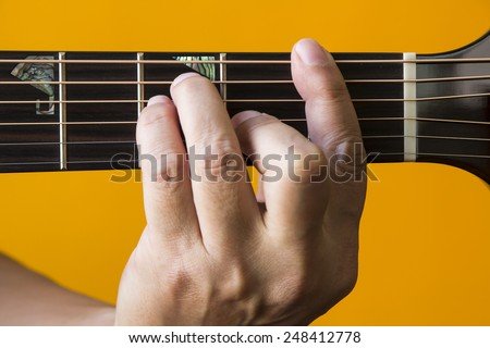 Hand Performing F Chord On Guitar Stock Photo Edit Now 248412778