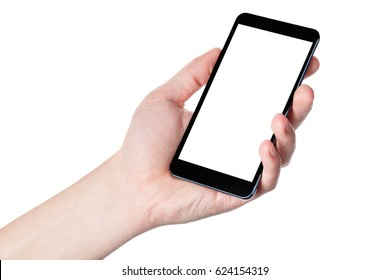 Hand with phone isolated on white background