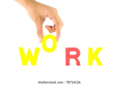 "Hand pick up ""O"" alphabet from work wording, business concept isolate on white"