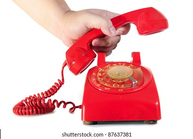Hand pick up retro dial style red house telephone