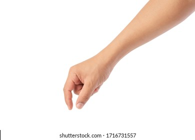 hand pick some like object isolated on a white background, with clipping path, manicured hand, concept the selection, pick up things