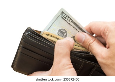 hand picking dollar bill from wallet, isolated