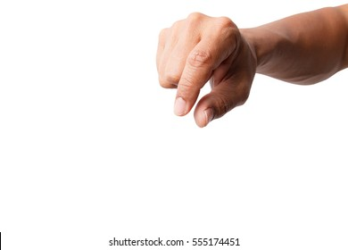 Hand picking up isolated on white background with clipping path