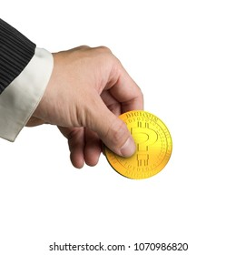 Hand picking one golden digital coin with question mark, isolated on white background, concept of cryptocurrency, blockchain technology, bitcoin mining.