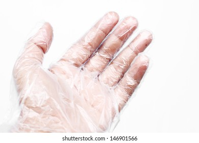 Hand with Plastic gloves on white background