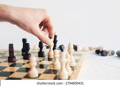 Hand of player chess board game  puts check and checkmate. Plan leading strategy of successful business competition leader concept. Copy space for text