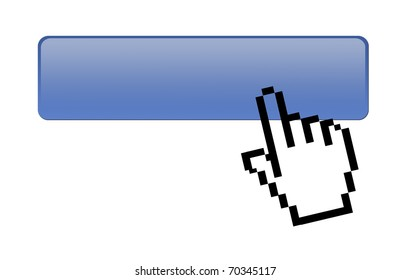 Hand pointer mouse clicking blue button, isolated illustration