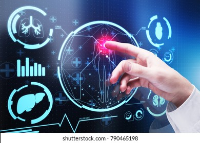 Hand pointing at abstract digital medical interface on blurry city background. Technology and medicine concept. 3D Rendering