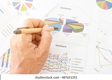 Hand pointing at business chart