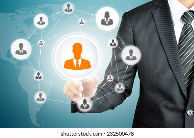 Hand pointing to businessman icon in the middle that linked with each other as network - HR,HRM,MLM, teamwork & leadership concept
