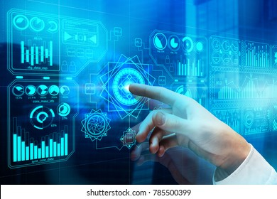 Hand pointing at digital business interface on abstract city background. Future and hud concept. Double exposure