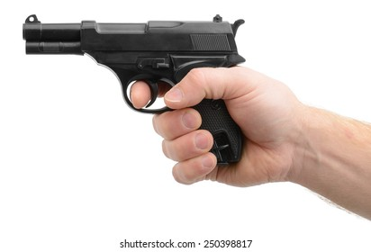 Hand pointing a gun isolated on a white background